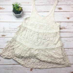 Urban Outfitters cream lace flowy tank top boho S